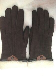 **7** Portolano women's chocolate Suede Fur Lined Gloves mittens made in ITALY