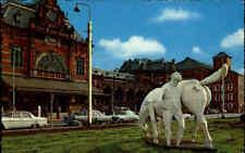 GRONINGEN Niederlande Holland ~1960 Auto Autos Station Bahnhof color Postkarte