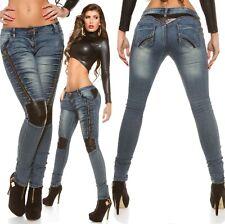 KouCla Women's Leather Panel Zip Skinny Denim Jeans - S/M/L