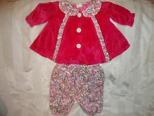 Baby Girls Vintage Rose Button Pink Velour Puffy Floral Pants Winter Set 3-6 Mos