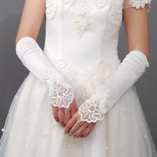 HBH Brauthandschuhe mit spitze bestickt Ca.30cm lang Farbe WEISS