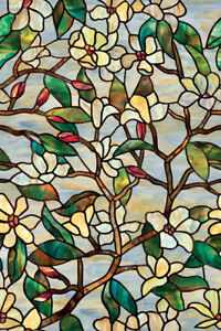 SUMMER MAGNOLIA Privacy Stained Glass Decorative Window Film 24x36 Floral Decor