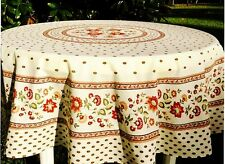 """LE CLUNY, FAYENCE RED & CREAMY WHITE FRENCH COATED COTTON TABLECLOTH, 70"""" ROUND"""