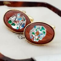 Vintage - 1950s Burgundy Silver Foil Glass - Oval Gold Plated Cufflinks