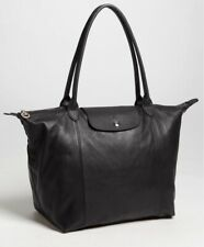 Longchamp Le Pliage Cuir Leather Tote Bag Black/silver Made in France