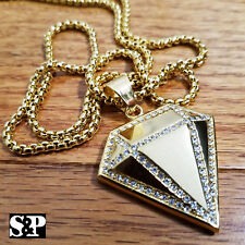 """w/ 24"""" Round Box Chain Necklace Stainless Steel Iced out Diamond shape Pendant"""