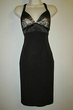 MARIA BIANCA NERO Sz P Sexy Fitted Cocktail Dress Lace Overlay Stretch Bodycon