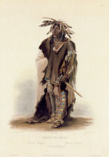 Sioux Indian Warrior Wahk Ta Ge Li 30x44 Karl Bodmer Native American Indian Art