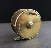 Antique Victorian brass fishing reel, F Barnes