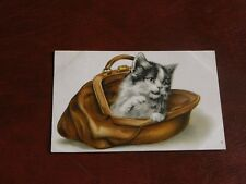 ORIGINAL EMBOSSED CAT POSTCARD - CAT IN BAG.