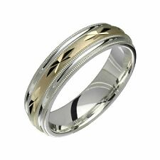 Wide Engagement Band for Him N Her .925 Sterling Silver W 10k Yellow Gold 6mm