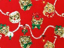 RPFMM115 Retro Kitten Christmas Fluffy Kitty Cat Mistletoe Cotton Quilt Fabric