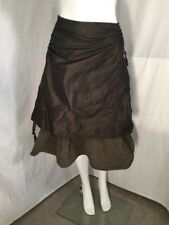 Taffeta Lagenlook Shirred / Ruched Skirt Sz 42 Dreamstar Olive Stripe Layered