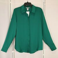New H and M Green Blouse Size 8 Womens Eur 40 Hidden Buttons Long Sleeve Nwt