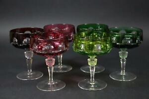 6x Champagner Schale geschliffenes farbiges Kristallglas (EA640)