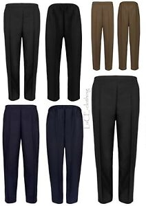 NEW Womens Half Elasticated Waist TROUSERS Ladies Pocket Casual Pants Size