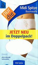 1 x  NUR DIE Doppelpack (2 Stück) Midi Spitze Slip Baumwolle weiß   Gr. L 44-46