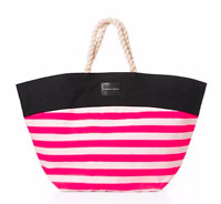 NWT VICTORIA'S SECRET HOT NEON PINK STRIPE BEACH BAG TOTE ROPE HANDLES LARGE BAG