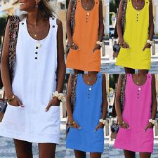 Women Summer Sleeveless Mini Dress Casual Beach Holiday Evening Party Sundress
