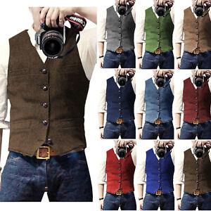 Retro Herren Weste Vintage Tweed Herringbone Tailored Notch Lapel Förmlich Wolle