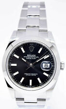 Rolex NEW Datejust 41 Steel Black Dial Oyster Bracelet Watch Box/Papers 126300