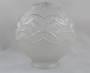 Drum Glass Transparent Embossed Round Spare Lamp Vintage 60