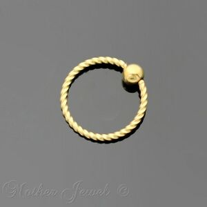 18G 8MM 14K YELLOW GOLD PLATED CBR BCR EAR NOSE LIP SEPTUM HELIX CAPTIVE RING