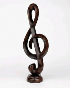 Music Note Wooden Hand Carved Sculpture of Vintage Statue Lucky Home Deco Gift !