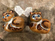 2 Cat Christmas Ornaments Vintage Italian Hand Blown Hand Painted Glass Italy