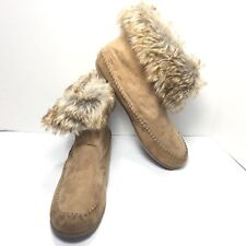 Women's Madden Girl Brown Native Style Fur Ankle Booties Moccasins Size 9.5 M