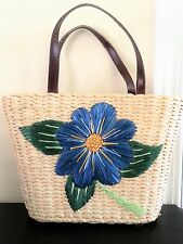 WONDERFUL Natural Straw Purse Large Blue and Yellow Flower Solid Blue Lining