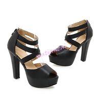 Lady's PeepToe Platform Strap Cross High Heels Dress Sandals Shoes All Size Hot