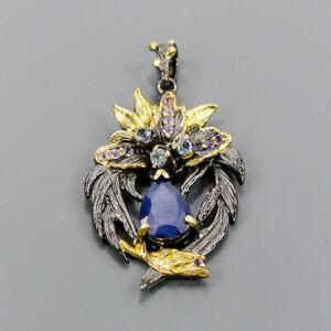 Vintage Blue Sapphire Pendant Silver 925 Sterling  /NP13752
