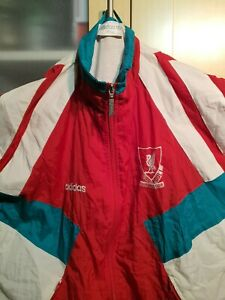 """OFFICIAL LIVERPOOL FC-RETRO SHELL SUIT JACKET-""""ADIDAS"""" -SIZE 38/40-1991-92-RARE"""
