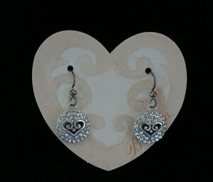 """NWT Brighton """"ALCAZAR SPARKLE HEART"""" Crystal French Wire Earrings MSRP $48"""