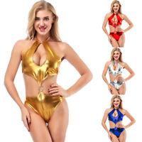 Women Wet Look Bodysuit Metallic Teddies Swimwear Leotard Night Clubwear Costume