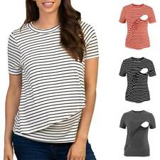 Women Pregnant Maternity Clothes Stripe Nursing Top Breastfeeding T Shirt Blouse