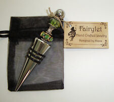 WINE STOPPER Jeweled /Beaded Chrome Green Crystal Pretty Lampwork NEW!! Unique