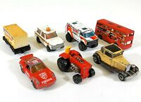 7 x Matchbox Car Tractor Bur Trailer Oldtimer Red White Vintage Diecast D252