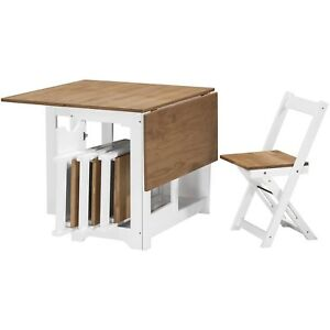 Seconique Santos Butterfly Folding Dining Set with 4 Dining Chairs in White & Pi