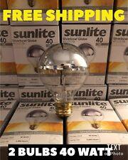 Sunlite Incandescent 40 Watt G25 Globe Silver Bowl Clear Light 2 Bulbs New