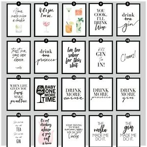 Favorite Alcohol Drinks Wall Art Picture Print Funny Home Kitchen Quotes Poster