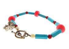 Sterling Silver Shamrock Clover Coral Turquoise Bracelet 10mm 8 inch