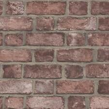 Norwall FH37518 Farmhouse Brick Prepasted Wallpaper Cajun Red, Rust