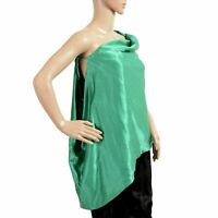 Just Cavalli Women's Green One Shoulder Blouse Top US 4 IT 40
