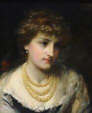 BELLE 19th Secolo scuola inglese Lady Ritratto Perle Antico dipinto ad olio