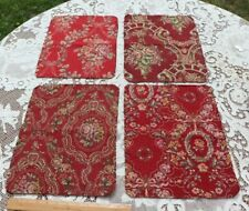 4 French Christmas Red Antique c1920 Tapestry Cotton Jacquard Fabric Samples