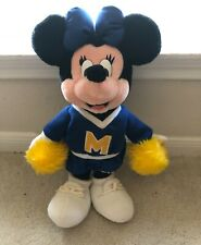 """New listing Vintage Disney Parks Minnie Mouse Cheerleader blue and yellow plush 15"""" Vguc"""