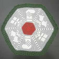 """42 cm, 16.5"""", Red White Green, Christmas Crochet Doily, 589"""