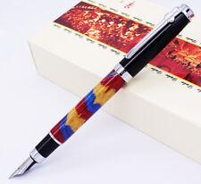Duke Celluloid Fountain Pen Blue-Yellow-Red Beautiful Quicksand M Nib Gift Pen
